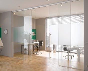 Стеклянные двери для офиса фото
